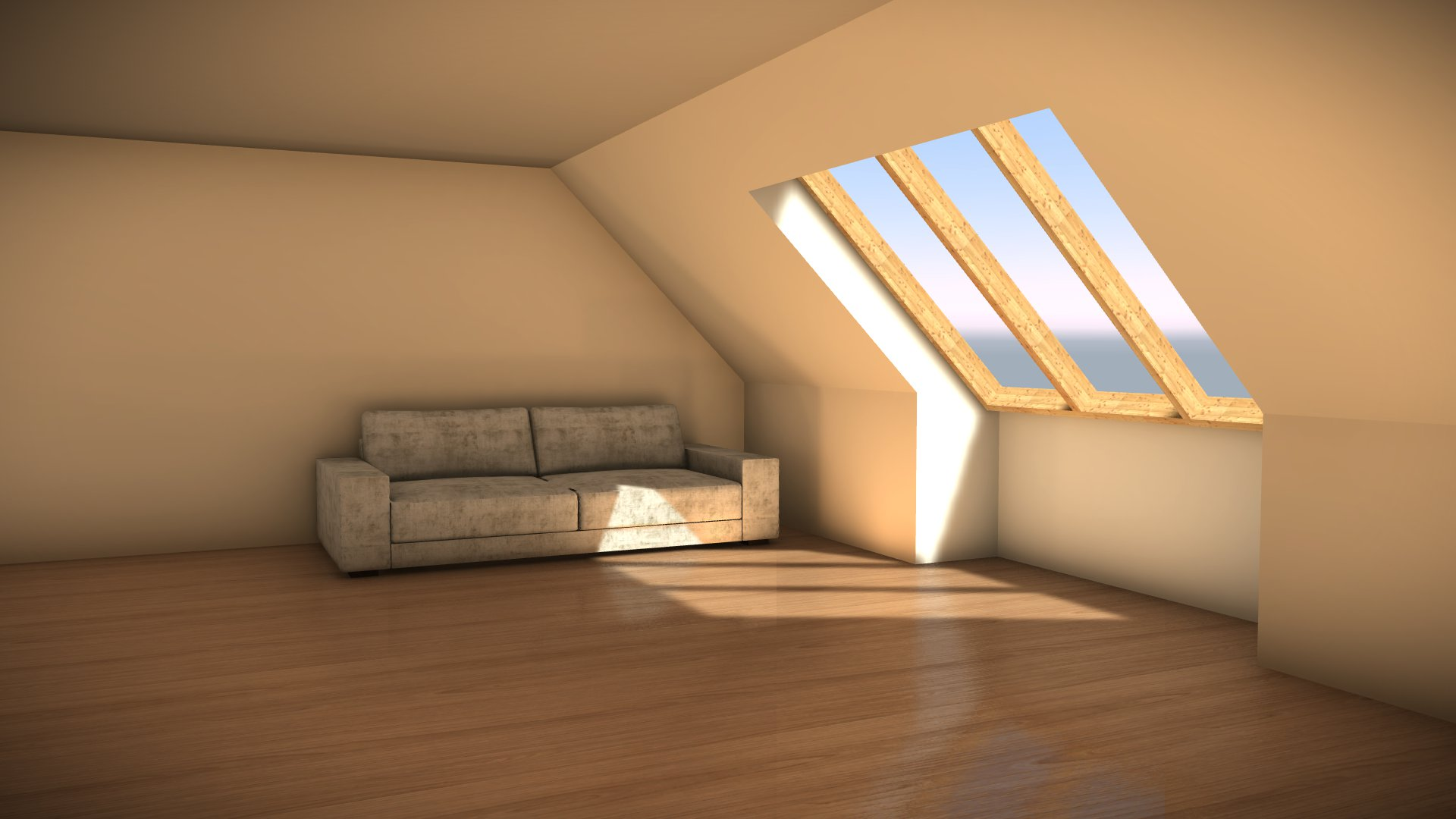 Using Bounced light to illuminate an attic room.